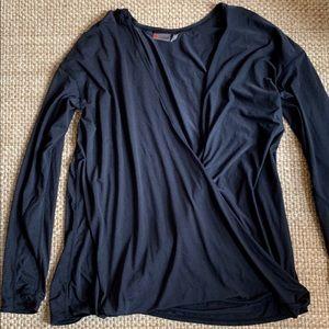 Zella Yoga Crossover Wrap Shirt Black XL